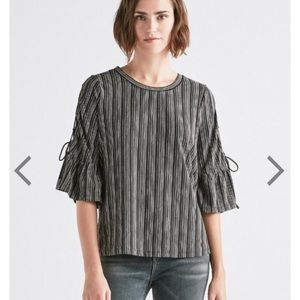 Lucky Brand lace up bell sleeve top